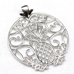 Southern Gates Circle Pineapple Scroll Pendant