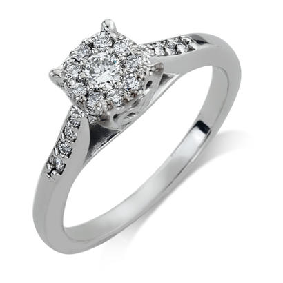 1/3CTW 14K White Gold Diamond Engagement Ring