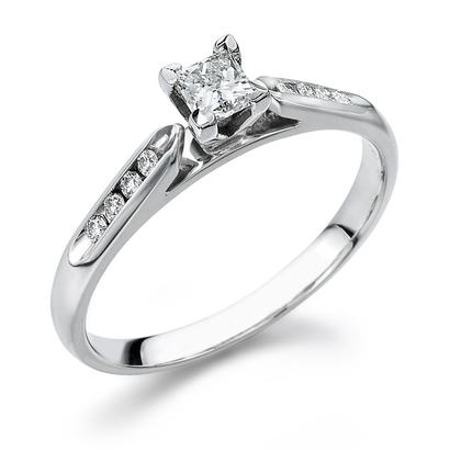 10KW 1/4CTW .15CT Center Princess Cut Diamond Engagement Ring