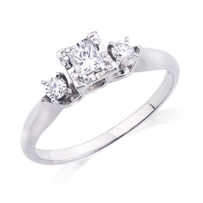 1/3CTW 10KW Diamond Princess Cut Engagement Ring