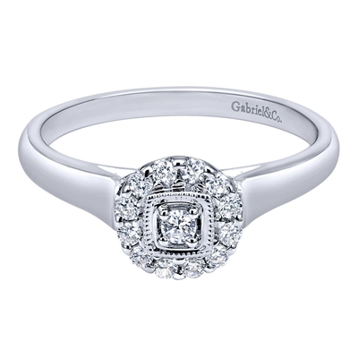 .19CTW 14K White Gold Diamond Halo Engagement Ring